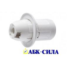 Патрон с прижимным кольцом термостойкий пластик, Е14 белый