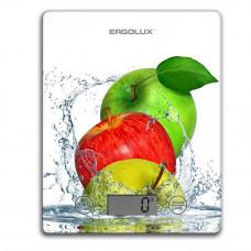 Весы кухонные до 5 кг, 195*142мм белые, яблоки Ergolux ELX-SK02-С01