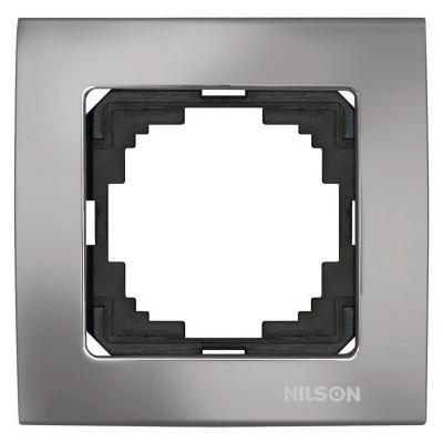 Touran Lux Зеркальный Антрацит Одинарная Рамка