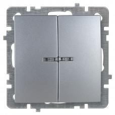Nilson Серебро Выключатель двухклавишный с подсветкой без рамки
