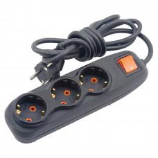 Nilson 3х 2м Черный Удлинитель с заземлением и кнопкой 16A
