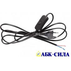 Шнур для бра с выключателем и плоской вилкой ШВВП 2х0,75мм² 2м чёрный уп.(10шт)