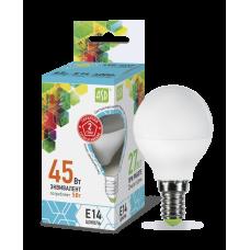 Лампа светодиодная шар 5Вт Е14 нейтральный 450Лм АСД (A0518)