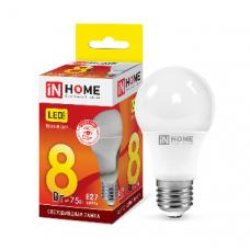 Лампа светодиодная A60 VC 8Вт Е27 теплый 720Лм IN HOME (A1692)