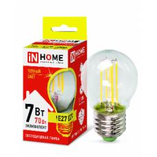Лампа сд шар-deco 7Вт Е27 теплый 630Лм прозрачная IN HOME