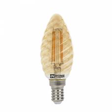 Лампа сд свеча витая-deco 5Вт Е14 теплый 450Лм золотистая IN HOME (A7182)