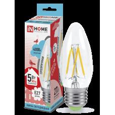 Лампа сд свеча-deco 5Вт Е27 нейтральный 450Лм прозрачная IN HOME
