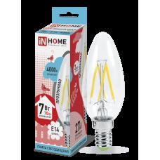 Лампа сд свеча-deco 7Вт Е14 нейтральный 630Лм прозрачная IN HOME (A6789)