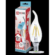Лампа сд свеча на ветру-deco 5Вт Е14 нейтральный 450Лм прозрачная IN HOME (A6802)