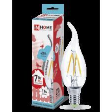 Лампа сд свеча на ветру-deco 7Вт Е14 нейтральный 630Лм прозрачная IN HOME (A6833)