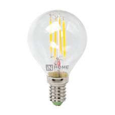 Лампа сд шар-deco 5Вт Е14 теплый 450Лм прозрачная IN HOME