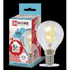 Лампа сд шар-deco 5Вт Е14 нейтральный 450Лм прозрачная IN HOME