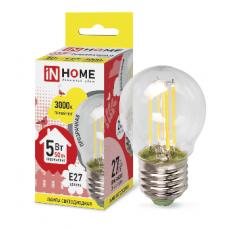 Лампа сд шар-deco 5Вт Е27 теплый 450Лм прозрачная IN HOME