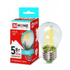 Лампа сд шар-deco 5Вт Е27 нейтральный 450Лм прозрачная IN HOME