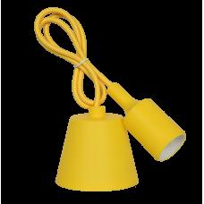 Патрон Е27 силиконовый со шнуром 1м желтый IN HOME