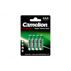 Батарейка ААА блистере 4шт, солевая R03P-BP4G Camelion