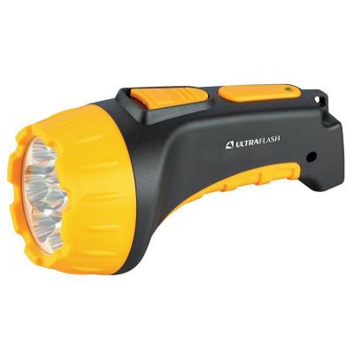 Ultraflash LED3807 (фонарь аккум 220В, черный/желтый, 7 LED, 2 режима, SLA, пластик, коробка)