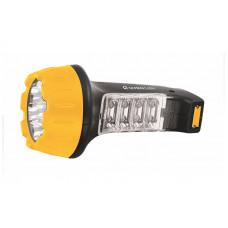 Ultraflash LED3818 (фонарь аккум 220В, черн /желт, 7+8 LED, 2 режима, SLA, пластик, коробка)