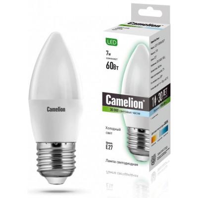Лампа светодиодная свеча теплая 7Вт 220В Е27 Camelion LED7-C35/830/E27