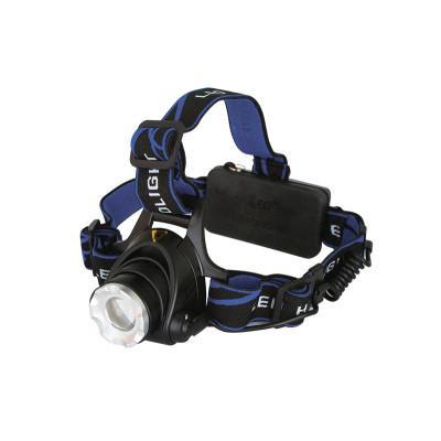 Фонарь налобный, 2 аккумулятора 1200 мА-ч, фокусировка дальнобойность 3 режима (упакован в пластиковый бокс) черный 3Вт 6500К 220В Ultraflash E150
