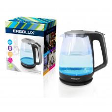 Чайник электрический стекло дисковый 1,7л серебристый черный 1500-2300Вт 160-250В Ergolux ELX-KG01-C42