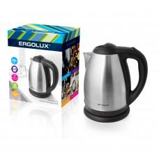 Чайник электрический нержавеющая сталь дисковый 1,8л матовый черный 1500-2300Вт 160-250В Ergolux ELX-KS01-C72