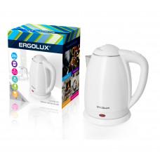 Чайник электрический нержавеющая сталь дисковый 1,8л белый 1500-2300Вт 160-250В Ergolux ELX-KS02-C01