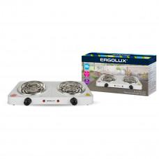 Электроплитка 2 конфорочная спиральный нагреватель белый 2000Вт 230В Ergolux ELX-EP02-C01