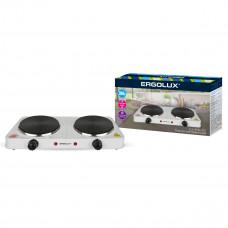 Электроплитка 2 конфорочная дисковый нагреватель белый 2000Вт 230В Ergolux ELX-EP04-C01