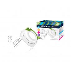 Миксер ручной 5 скоростей, Турбо режим, Блокировка, Венчики и крюки для теста в комплекте салатовый белый 200Вт 230В Ergolux ELX-EM01-C34