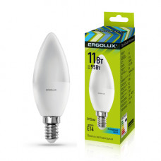 Лампа светодиодная Свеча 11Вт нейтральный 172-265В Ergolux LED-C35-11W-E14-4K