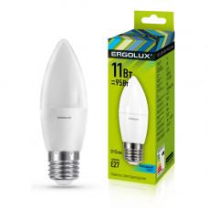 Лампа светодиодная Свеча 11Вт нейтральный 172-265В Ergolux LED-C35-11W-E27-4K