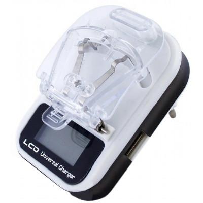 Универсальное зарядное устройство c USB и с LCD - евро вилка, качество SerteC - КРАБИК