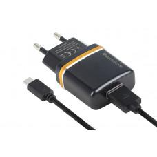 Сетевое Зарядное Устройство USB 2100mA + кабель microUSB - чёрный Reddax RDX-013