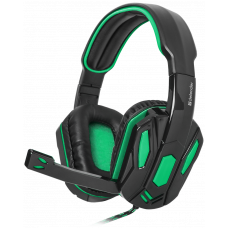 Наушники с микрофоном Warhead G-275 зеленый + черный, кабель 1,8 м DEFENDER Игровые