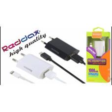 Сетевое Зарядное Устройство USB 1000mA + кабель microUSB - белый Reddax RDX-017