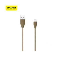 Дата кабель - microUSB золотой в тканевой оплетке Lux Awei CL-982