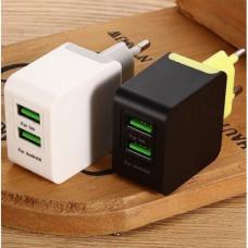 Сетевое Зарядное Устройство 2*USB 2400mA белый SerteC STC-1020