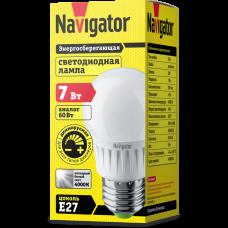 Лампа светодиод 7Вт шар G45 220-240В Е27 4000К матовая диммируемая Navigator (10/100)