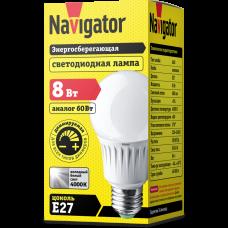 Лампа светодиод 8Вт груша А60 220-240В E27 680Лм 4000К матовая диммируемая Navigator (10/100)